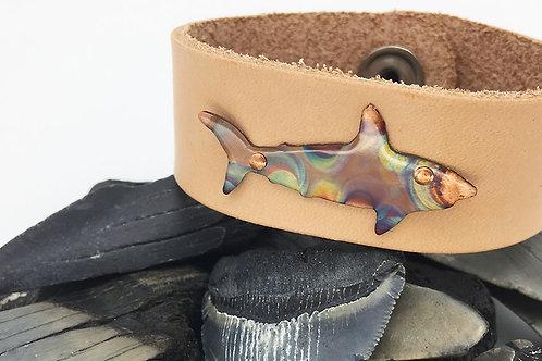 OOAK copper shark leather bracelet size 7.5 nude tan