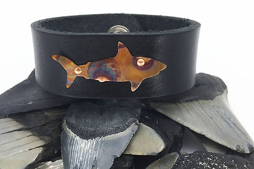 OOAK copper shark leather bracelet size 8 black