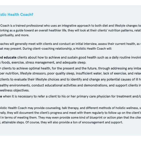 What is a Holistic Health Coach?