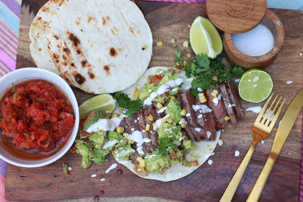 Kosher Carne Asada Soft Shell Tacos
