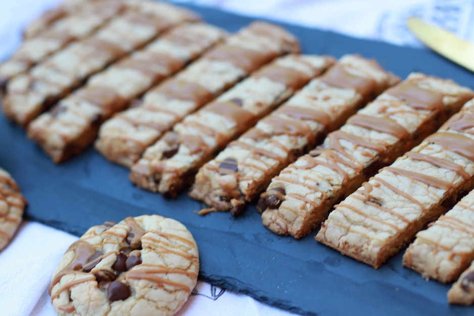 Biscoff Cookie Butter Drizzled Chocolate Chip Sticks & Cookies
