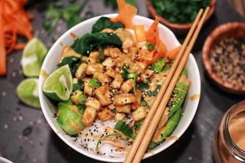 Crispy Tofu Peanut Buddha Bowl