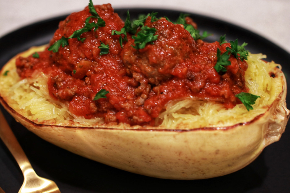 Roasted Spaghetti Squash with Meatballs & Meat Sauce