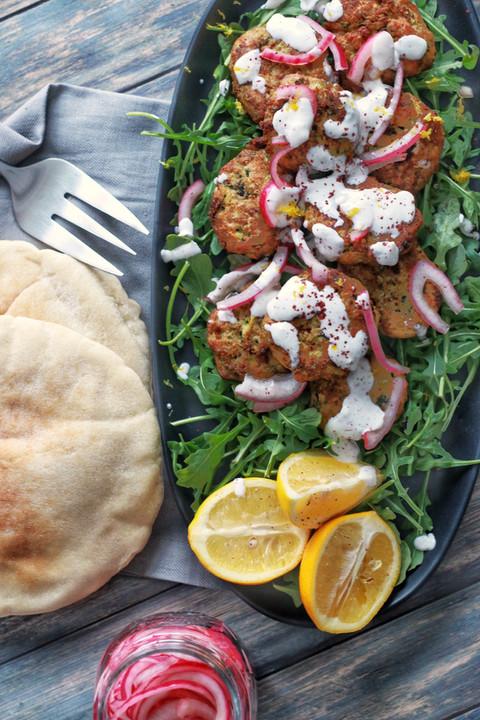 Turkey & Zucchini Kebobs with Pita