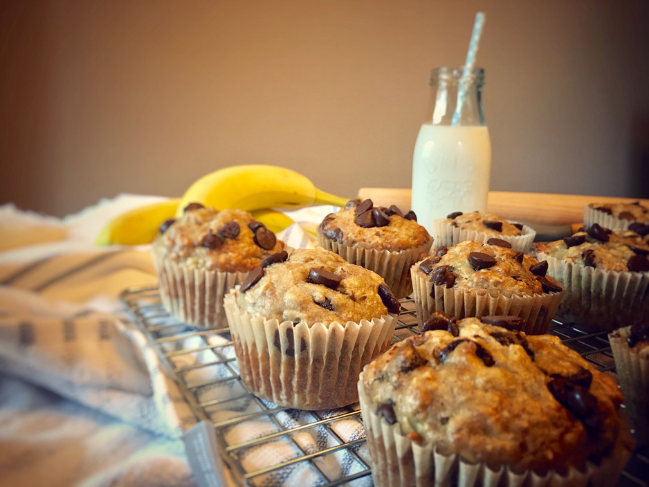 Oatmeal Banana Chocolate Chip Muffins