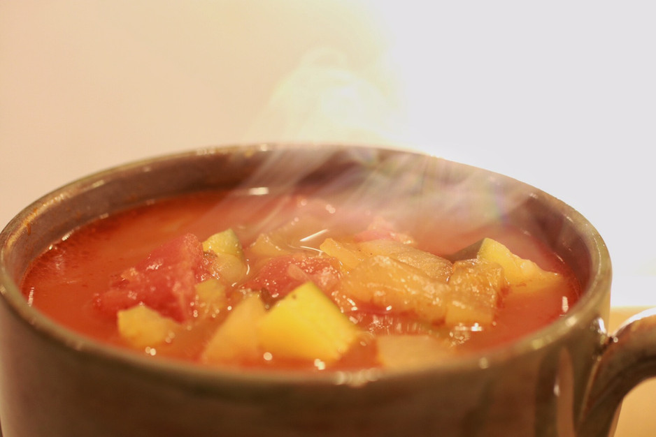"Hearty Vegetable Soup & Cheesy Garlic ""Breadsticks"""