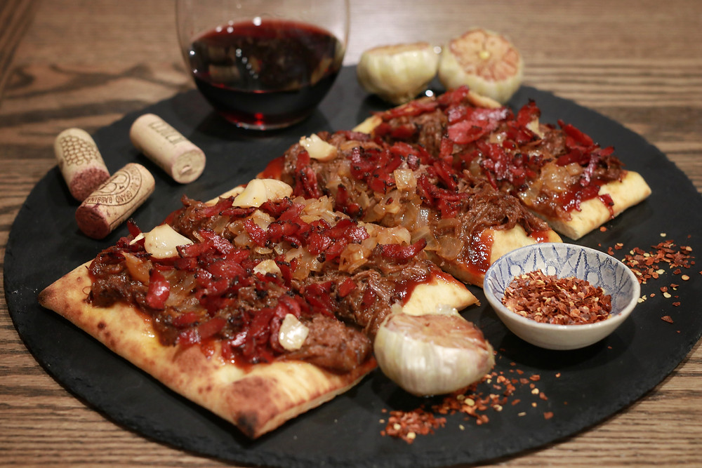 Kosher fried pastrami pulled beef flat bread