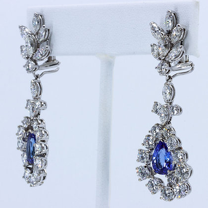 Diamond & Tanzenite Convertible Drop Earrings