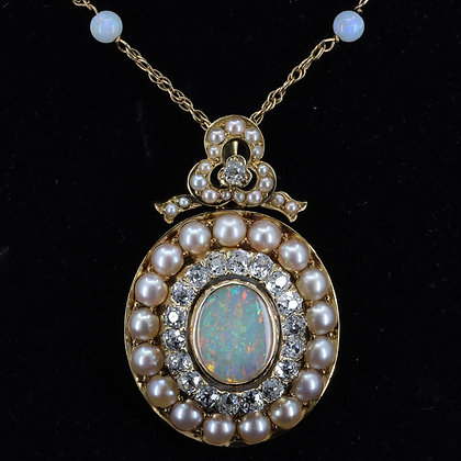 Opal Pearl Diamond Pendant Necklace