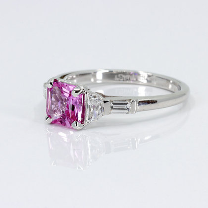 Square Cut Pink Sapphire Ring