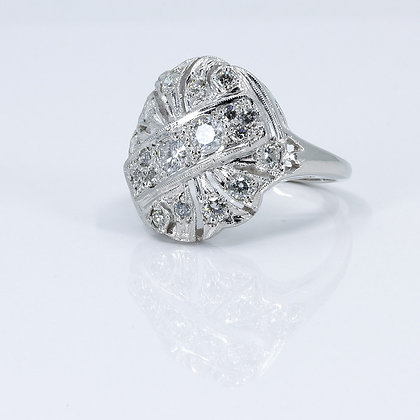 Platinum Cocktail Ring with Diamonds