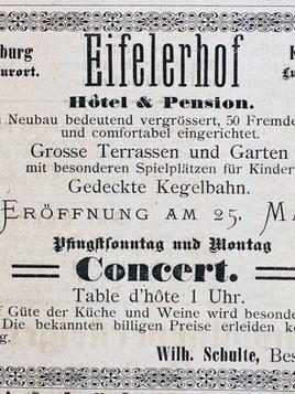 Anzeige Eifeler Hof 1890