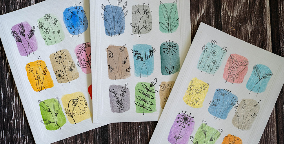 Pack of 3 cards - Abstract 9 Grid Doodles