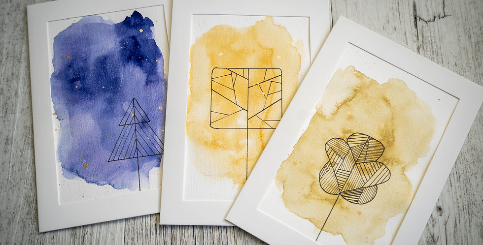 Pack of 3 Cards - Abstract Simple Shapes