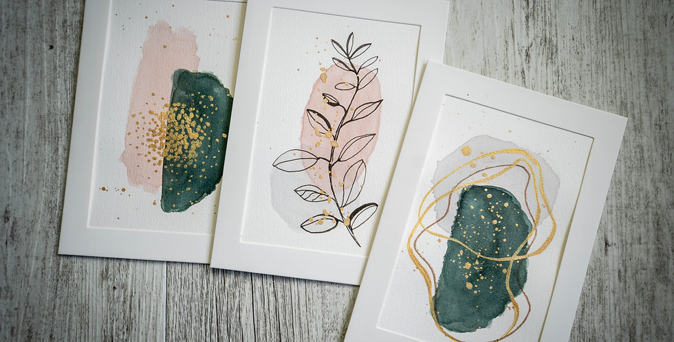 Pack of 3 Cards - Abstract Pink & Green