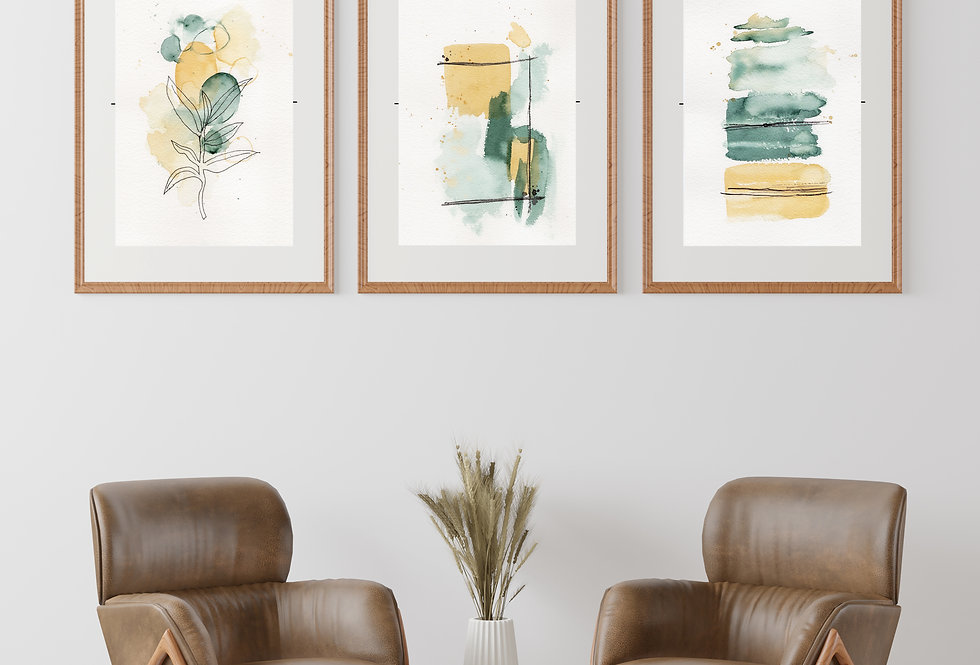 Set of 3 Abstract Watercolour Greens & Gold