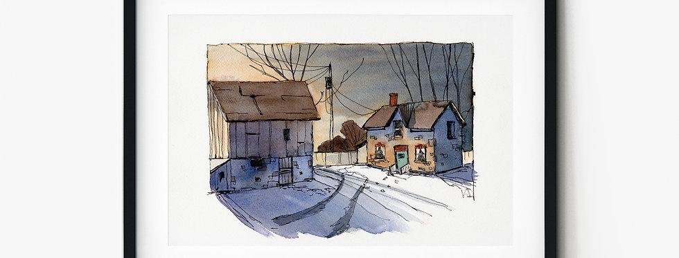 Moonlight Barn - Watercolour
