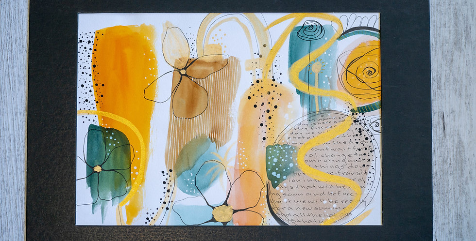 Abstract Watercolour with Doodles