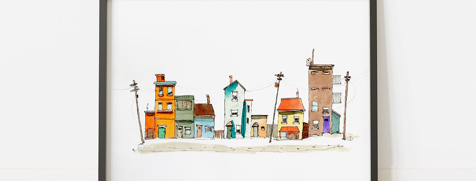 Crooked Street - Watercolour