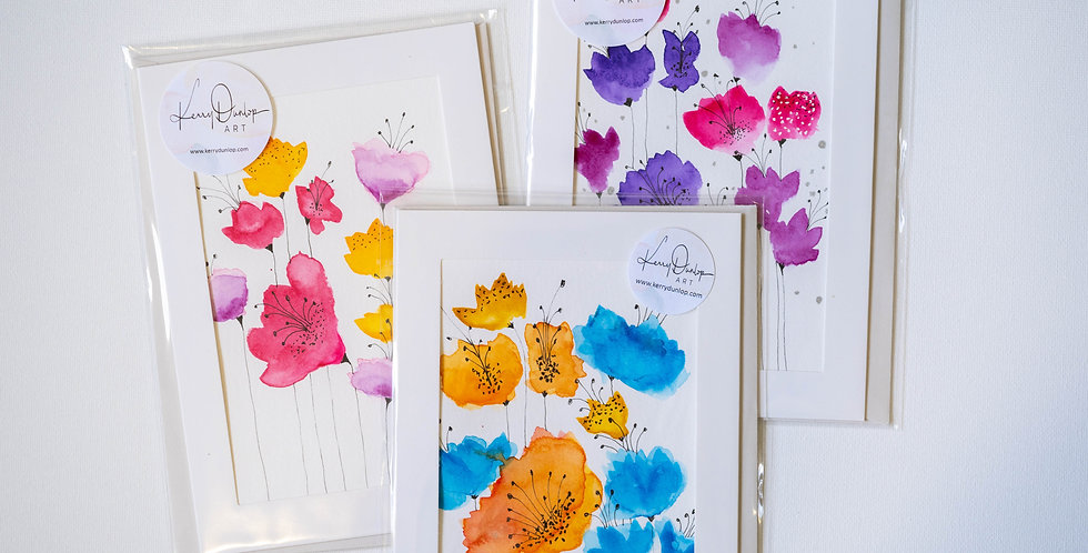 Pack of 3 cards - Summer Flowers