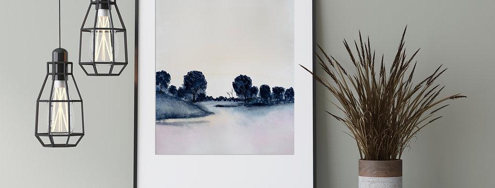 Lake Silhouette - Watercolour