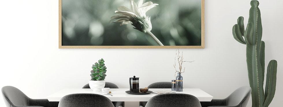 White Flower on green background