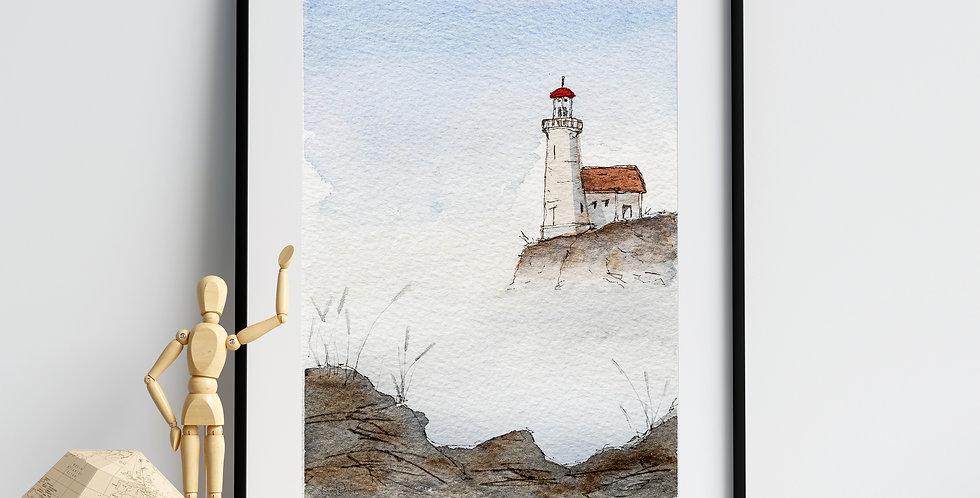 Misty Lighthouse - Watercolour