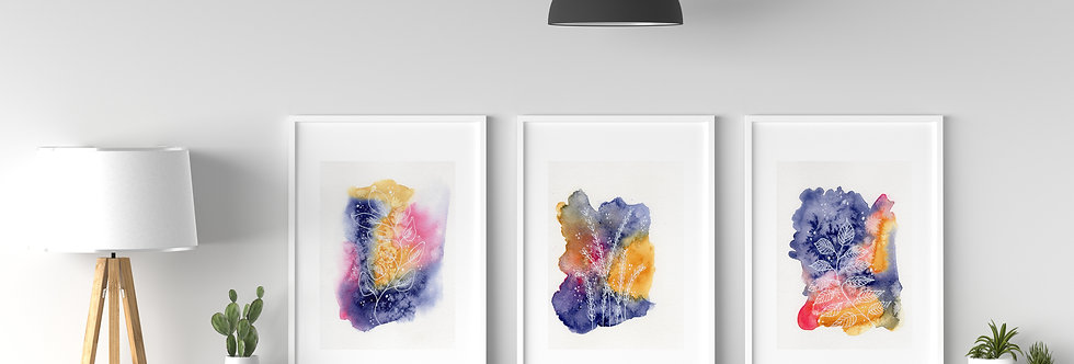 Set of 3 Abstract Watercolour_702