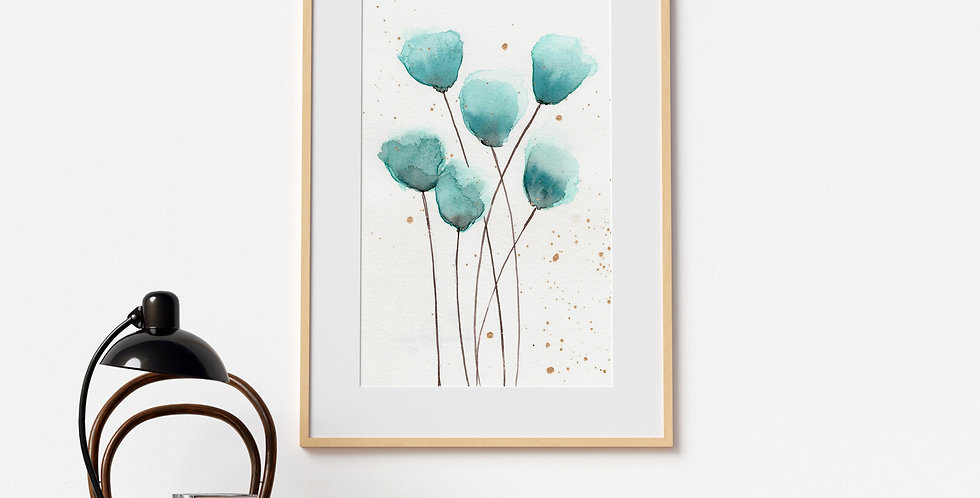 Minimal Flower Stems Watercolour
