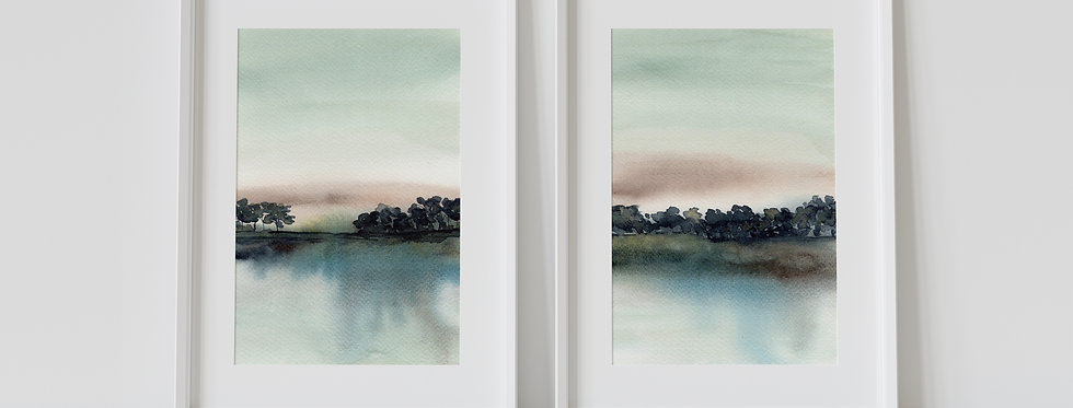 Trees on the Lake - Watercolour