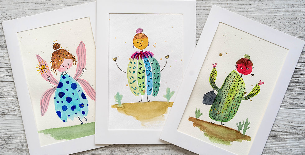 Pack of 3 Cards - Whimsical Characters
