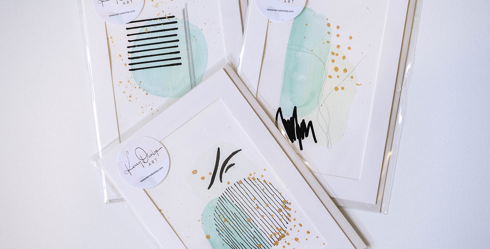 Pack of 3 cards - Abstract Circles in Greens