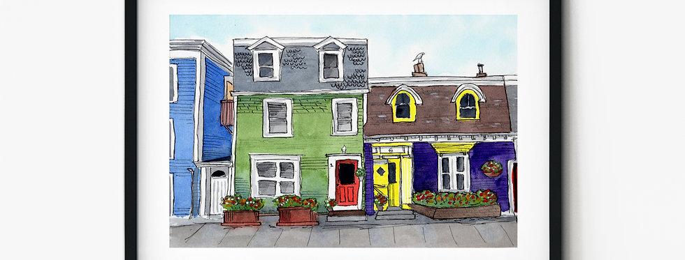 Jellybean Row - Watercolour