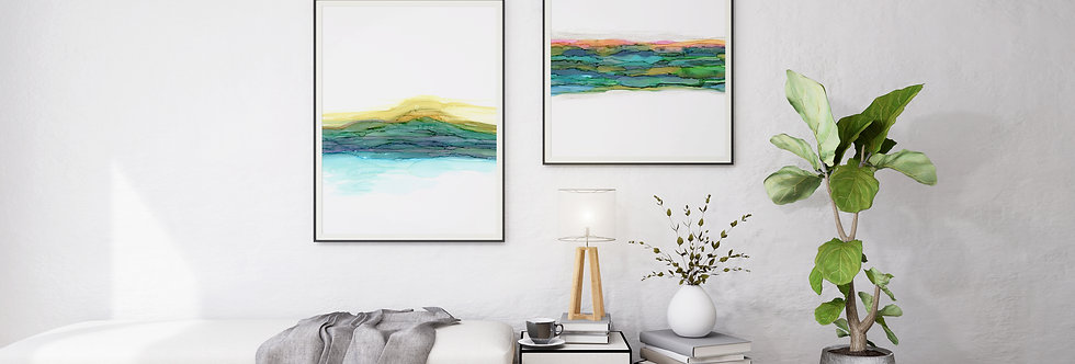Set of 2 Abstract Alcohol Ink Landscape