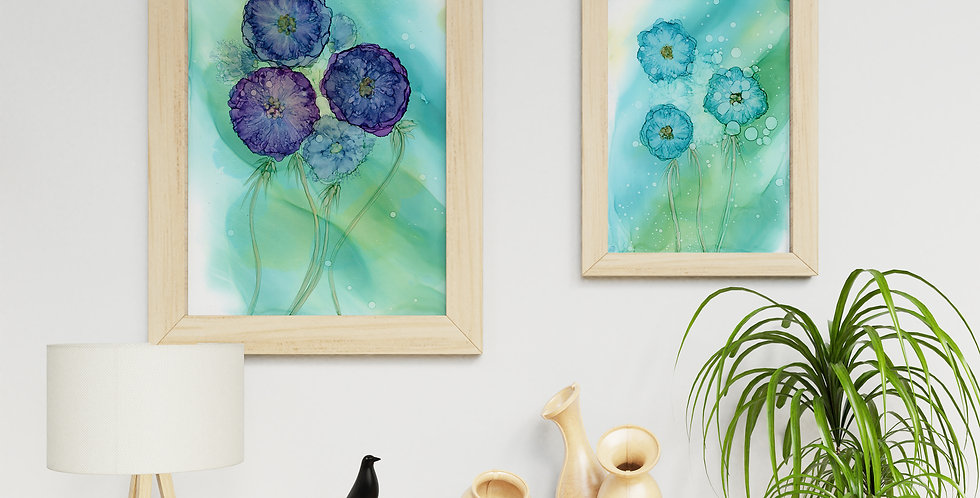 Set of 2 Abstract Alcohol Ink Flowers