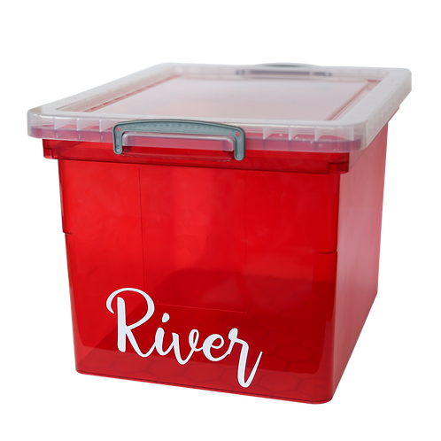 Red box with text