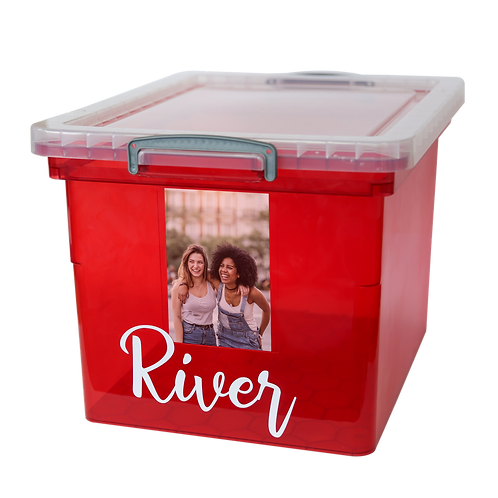 Red box with text and photo