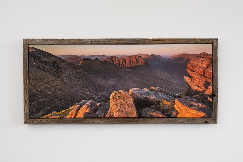 Sunset on Beinn Alligin Floating Post Frame