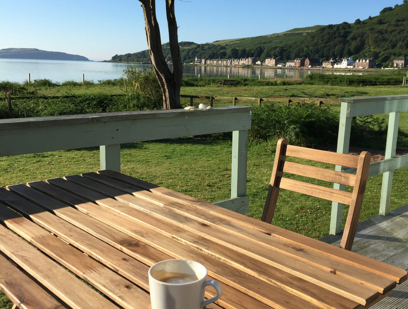 The east-facing deck in the morning - the perfect spot for coffee.