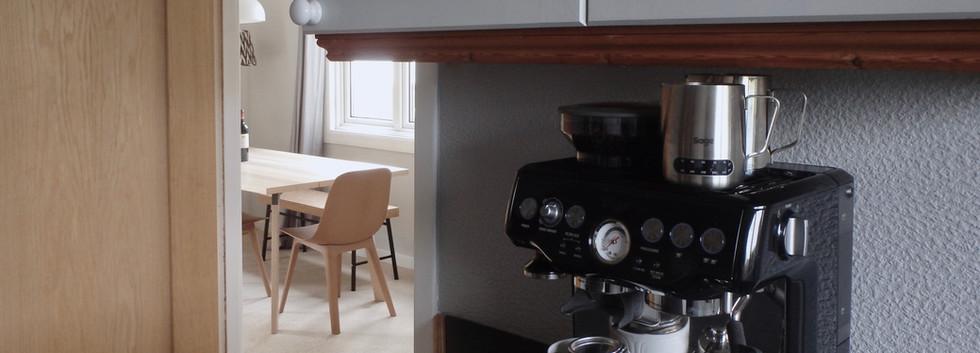 Espresso machine in the kitchen.