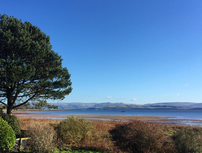 The view from the garden of Great Cumbrae and the Ayrshire coast beyond.