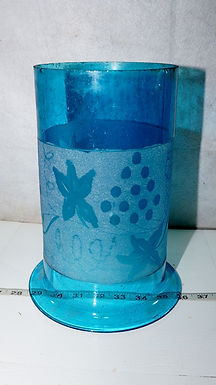 Blue Glass Shade - Etched Grapes Design