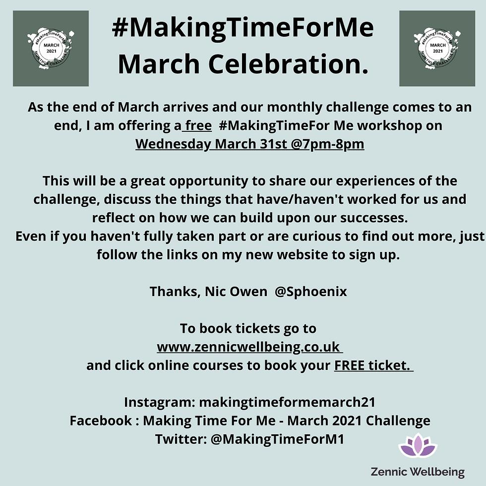#MakingTimeForMe        Self-Care Workshop FREE Session.