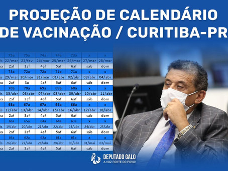 Projeção de calendário de vacinação em Curitiba