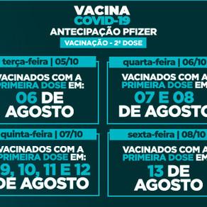 Veja o cronograma de aplicação da segunda dose da vacina