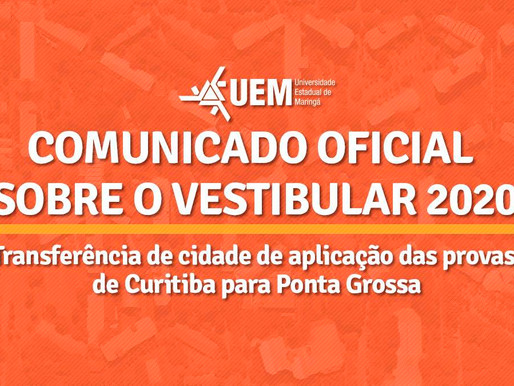 UEM: Provas do vestibular passam de Curitiba para Ponta Grossa