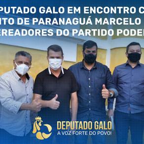 PREFEITO DE PARANAGUÁ E VEREADORES RECEPCIONAM DEPUTADO GALO