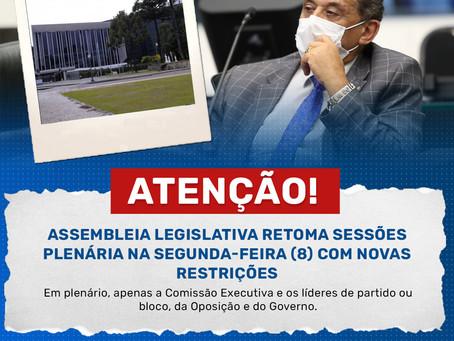 Assembleia Legislativa retoma sessões plenária na segunda-feira (8) com novas restrições