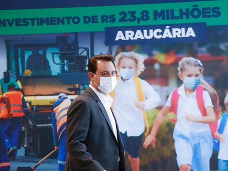 Governo do Estado vai investir R$ 23,8 milhões em pavimentação e escolas em Araucária