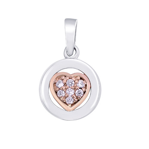 Rose Gold Plated  Heart & CZ Silver Pendant